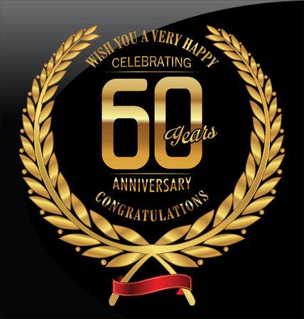 golden ribbon: Anniversary golden laurel wreath 60 years
