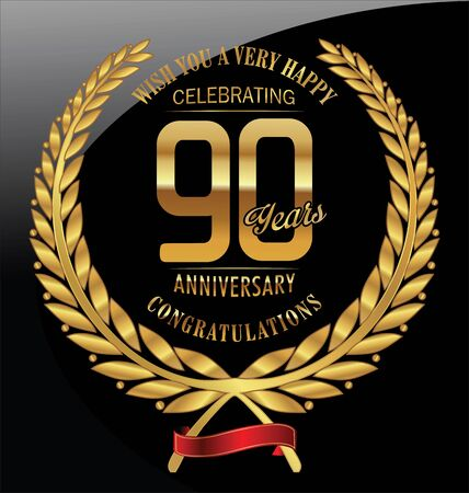 90 years: Anniversary golden laurel wreath 90 years Illustration