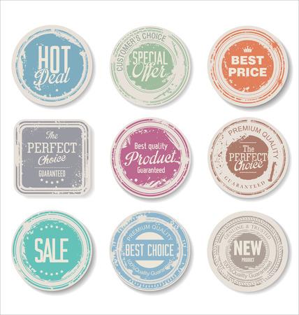 vintage ornament: Set of vintage retro premium quality badges and labels