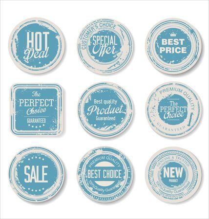 vintage stamp: Set of vintage retro premium quality badges and labels