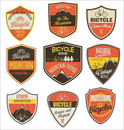 badge icon: Set of bicycle retro vintage badges and labels Illustration