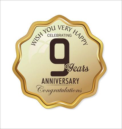 9th: Anniversary retro golden label