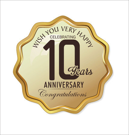 anniversario matrimonio: Anniversario retro etichetta d'oro