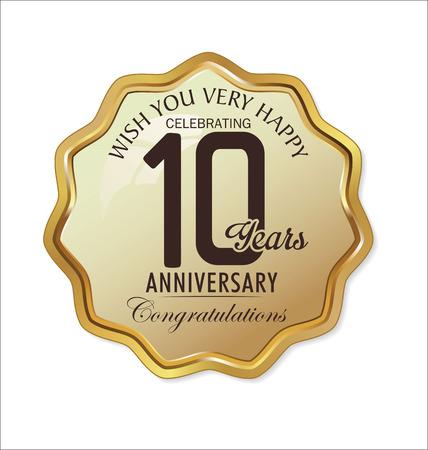 aniversario de boda: Retro etiqueta de oro del aniversario Vectores