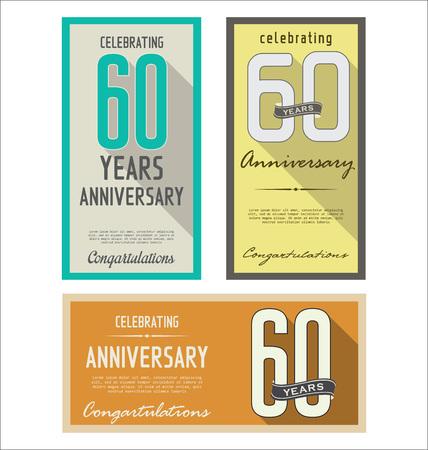 age 60: Anniversary retro background
