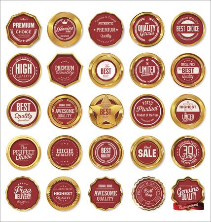 Vector Badges Van Gouden Set Stock Illustratie
