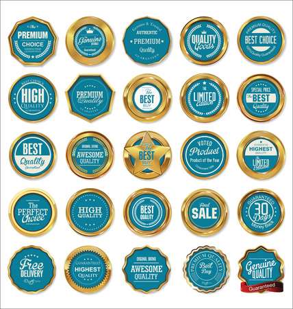 wax stamp: Vector Badges of Golden Set Illustration