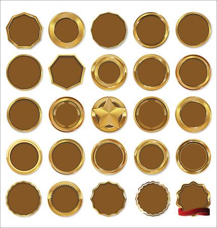sellos: Placas de oro determinado del vector Vectores