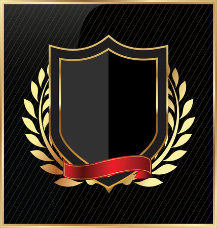 Shield with a golden frame Ilustrace