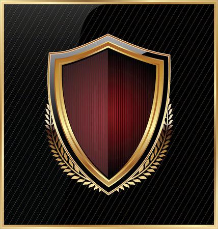 Shield with a golden frame Illustration