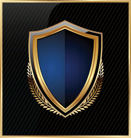 shiny gold: Shield with a golden frame Illustration