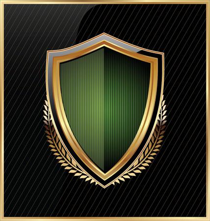 golden shield: Shield with a golden frame Illustration