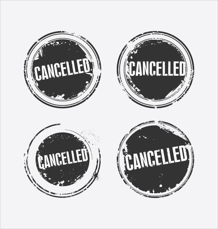 censure: Grunge rubber stamp with the text Cancelled