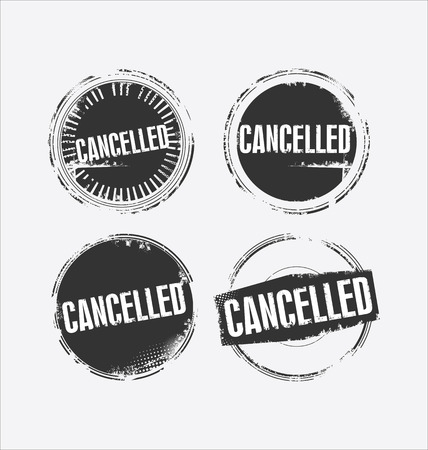 cancelled: Grunge rubber stamp with the text Cancelled