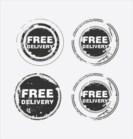 paper delivery person: Free delivery vector stamp