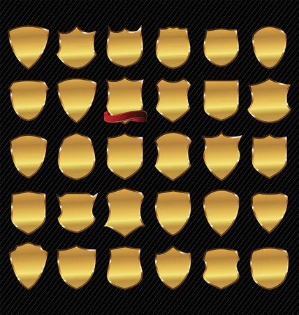 escudo: Conjunto de vectores de oro enmarcada etiquetas
