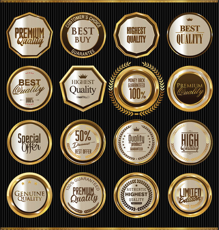 price tag: Golden badges collection