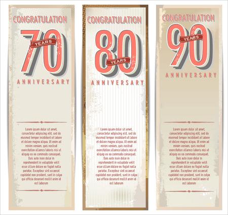 70 80 years: Anniversary retro background