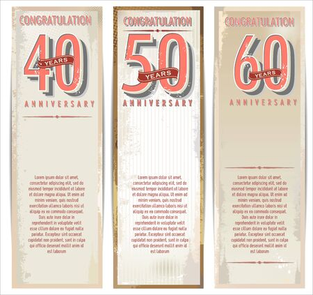50 to 60: Anniversary retro background