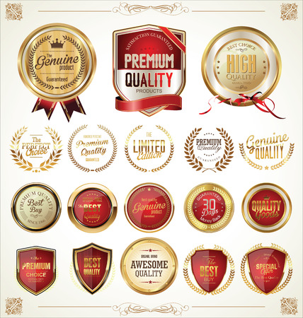 golden symbols: Quality golden badges and labels collection