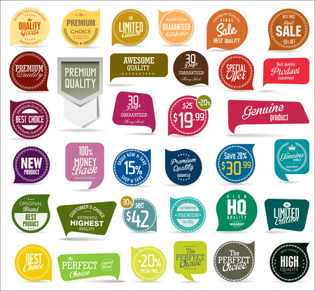 Premium, quality modern labels collection Vettoriali