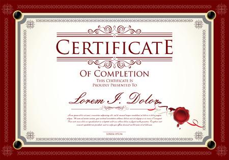 certificado: Certificado, Diploma de finalización Vectores