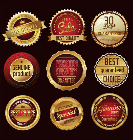 red gold: Premium  quality retro vintage labels collection