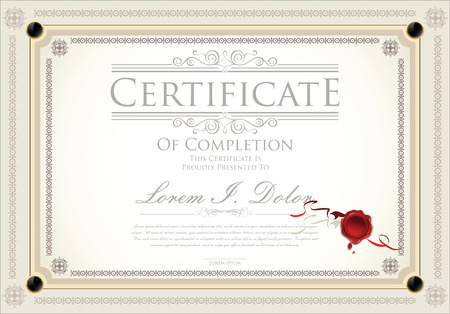 completion: Certificate, Diploma of completion