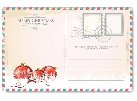 ビンテージ クリスマスはがき  イラスト・ベクター素材