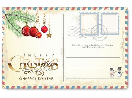 Carte postale vintage de Noël Banque d'images - 46529573