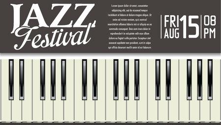piano keys: Jazz festival background Illustration