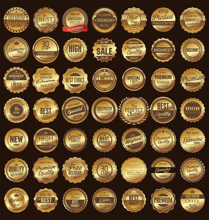 dorado: Premium, retro vintage etiquetas de calidad colección
