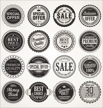 FOCAS: Premium, retro vintage etiquetas de calidad colecci�n