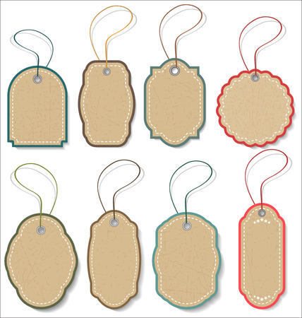 rope vector: Tag vintage label vector