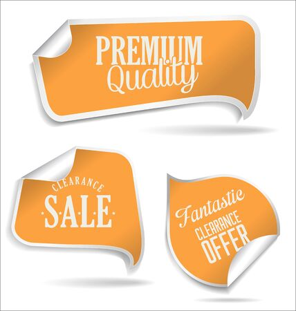 an illustration promoting: Modern style yellow sale stickers Illustration