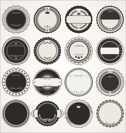 Empty retro vintage badge collection