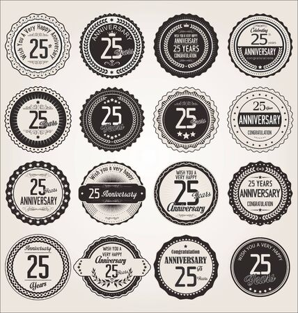 25 years old: Anniversary retro labels collection 25 years Illustration