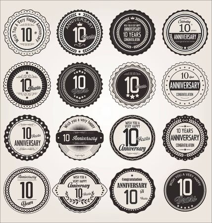 anniversary celebration: Anniversary retro labels collection 10 years Illustration