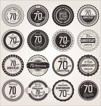 70 years: Anniversary retro labels collection 70 years