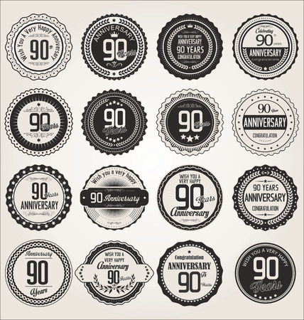 90 years: Anniversary retro labels collection 90 years