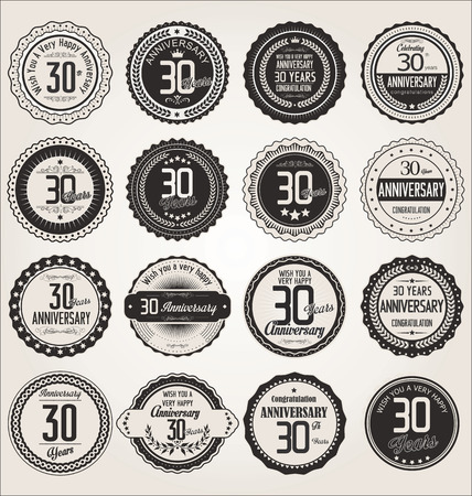 30 years: Anniversary retro labels collection 30 years Illustration