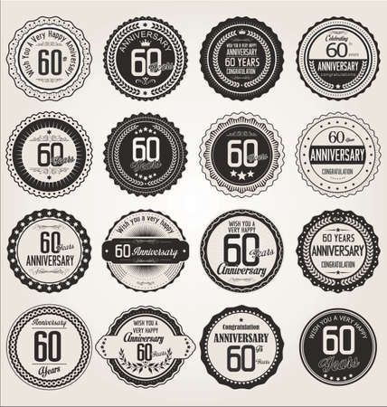 60 years: Anniversary retro labels collection 60 years Illustration