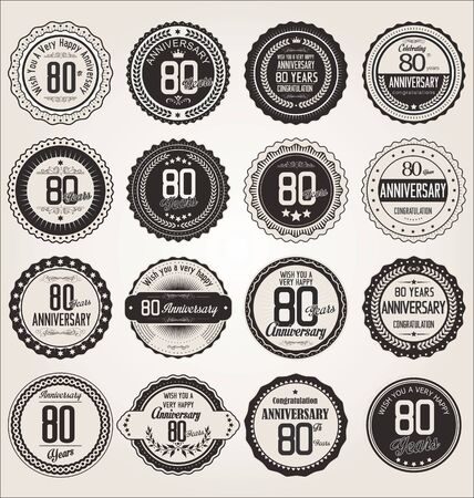 80 year old: Anniversary retro labels collection 80 years Illustration