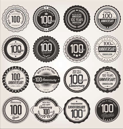 hundred: Anniversary retro labels collection 100 years