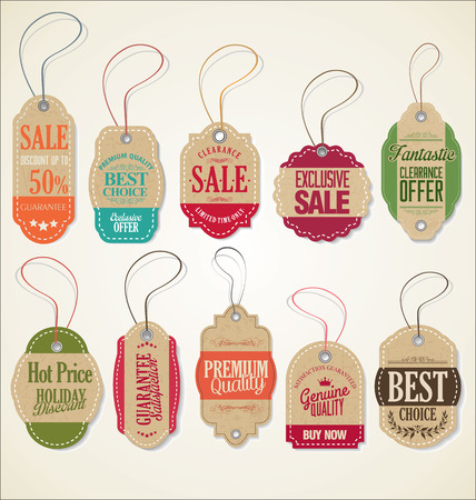 Vintage Style Sale Tags Design Stock Vector - 47169568