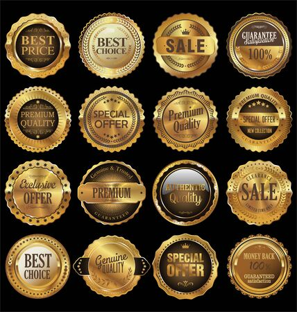 gold seal: Quality golden labels collection Illustration