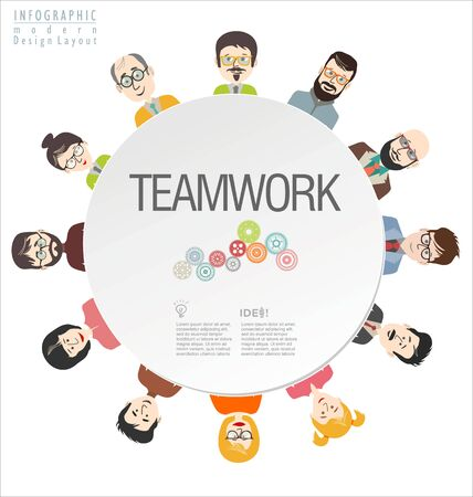 team working: Infographics teamwork design concept modern background