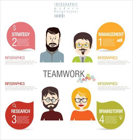 relationships: Infographics teamwork design concept modern background
