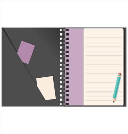 side menu: Lined blank notebook with spiral isolated on white Illustration