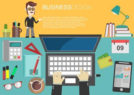 interior design: Interior of working place concept in flat design Illustration